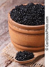 sort, stør, kaviar, ind, en, af træ, closeup., vertikal