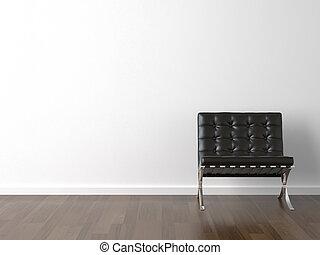 sort, stol, på hvide, mur