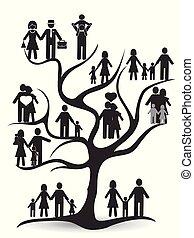 sort, træ, familie