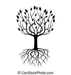 sort, træ, hos, roots., vektor, illustration.