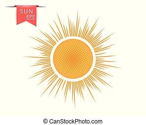 sortant, art, pointillé, orange, soleil, isolé, jaune, créatif, arrière-plan., vecteur, lumière, élément, rays.