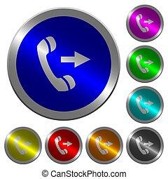 sortant, couleur, boutons, appel téléphonique, coin-like, lumineux, rond