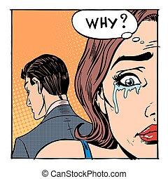 sortant, femme, dit, pleurer, pourquoi, homme