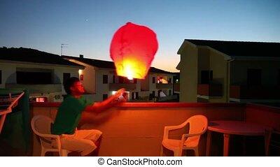 sorte, baloon, machen, fliegendes, einige, mann