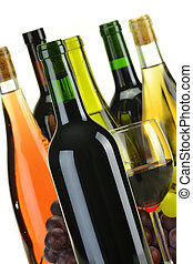 sorte, différent, bouteilles, composition, vin