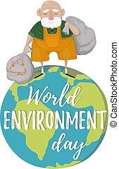 sorte, environnement, garbage., sacs, day., mondiale, déchets ménagers, homme