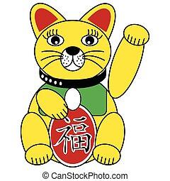 sorte, fortuna boa, chinês, gato