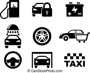 sorte hvide, vogn tjeneste, iconerne