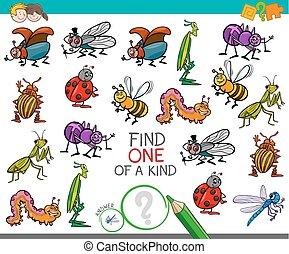 sorte, jeu, à, insecte, caractères
