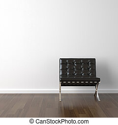 sorte læder, stol, på hvide, mur