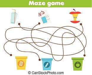 sorte, pédagogique, tri, déchets, type., theme., tout petits enfants, jeu, gosses, activité, children., labyrinthe, gaspillage