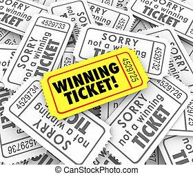 sortear, único, lotería, premio, ganador, entrada victoriosa...