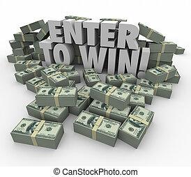 sortear, lotería, concurso, dinero, entrar, efectivo, palabras, victoria, pilas, 3d