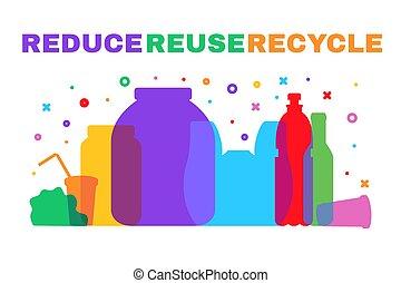 sorter, affald, plakat, plastik, affald, mindske