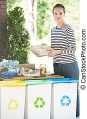 sorteren, gemakkelijk, vrouw, alledaags, afval