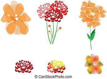 sorteret, blomster, clipart