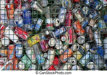 sorteret, drikker, dåser, på, den, affaldet