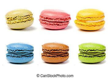 sorteret, farverig, fransk, macarons
