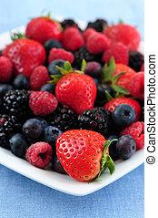 sorteret, frisk, berries