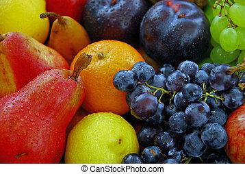 sorteret, frisk frugt