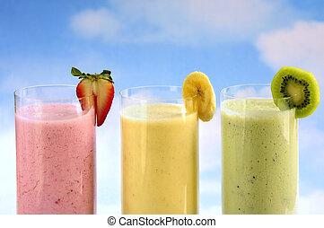 sorteret, frugt, smoothies