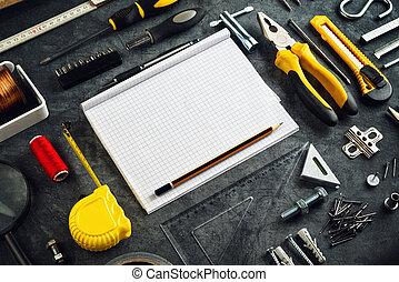 sorteret, gør det, redskaberne, og, notesbog