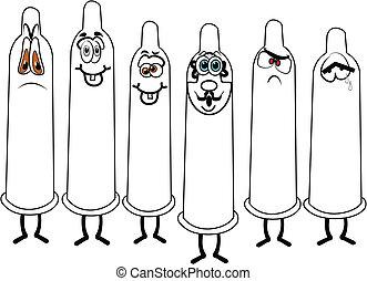 sorteret, kondomme