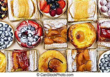 sorteret, tarts, og, pastries