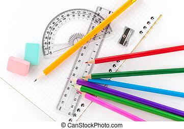 sortering, av, skrivpapper