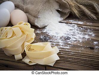 sortering, av, uncooked, pasta