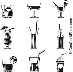 sortering, svart, cocktail, ikonen