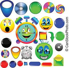 sortido, ícones, e, botões