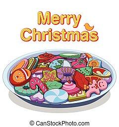 sortido, biscoito, e, biscoitos, para, feliz natal