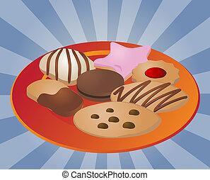 sortido, biscoitos, ligado, prato