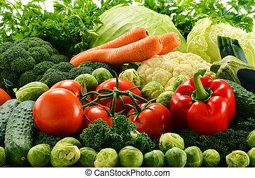 sortido, cru, orgânica, legumes