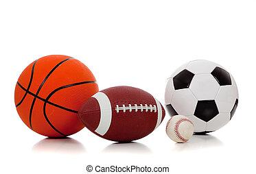 sortido, esportes, bolas, branco