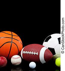 sortido, esportes, bolas, ligado, um, experiência preta