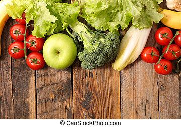 sortido, fruta fresca, e, vegetal