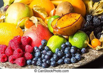 sortido, fruta fresca, ligado, um, prato