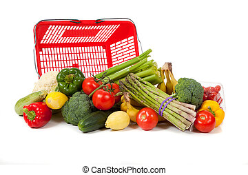 sortido, legumes, com, um, saco mercearia