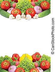 sortido, legumes frescos, isolado, branco, fundo