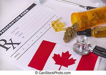 sortido, médico, canadense, cannabis, bandeira, produtos