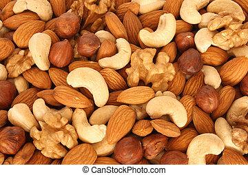 sortido, nozes, (almonds, filberts, nozes, cashews), cima