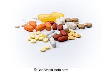 sortido, pílulas, e, medicação