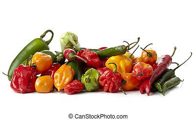 sortido, salsa mexicano, legumes, pimentas