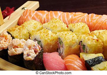 sortido, sushi, alimento japonês, ligado, a, navio
