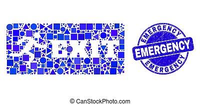 sortie, bleu, urgence, détresse, cachet, mosaïque