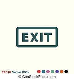 sortie, symbole., sortie, vecteur, logout, rendement, logo, icon., dehors