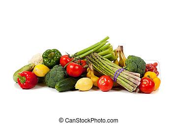 sortierte früchte, und, gemuese, auf, a, weißer hintergrund