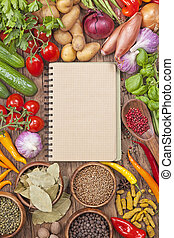 sortiment, i, friske grønsager, og, blank, madopskriften, bog